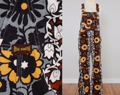 Vintage 60s hippie floral print BIG SMITH overalls / Earth tone MOD print / 33 waist by 27 inseam