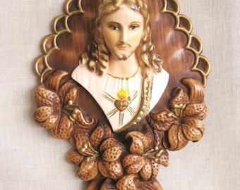 Vintage Religious Art, Wall decor, Chalkware Jesus, Plaque, Religion, Santo, Male Portrait, Portrait of Jesus, 3 Dimensional,Art