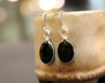 Black Onyx Gemstone Sterling Silver Handmade Minimalist Earrings