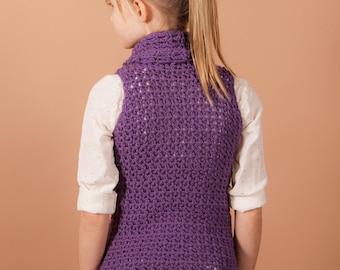 crochet pattern, top, cowl, Crochet sweater pattern, crochet pattern, Cowl vest, instant download, one piece, easy crochet pattern, girls