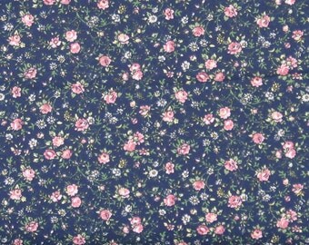 Sweet Pink and Green Floral on a Navy Blue Background from Marshall Dry Goods, 100% Cotton Calico Fabric for Sale, MDGCountry-02Navy