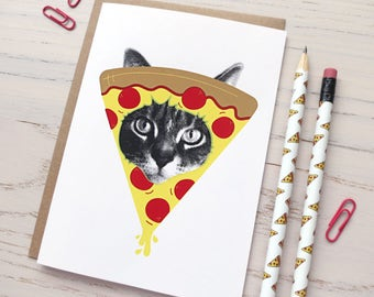 gee whiskers series: pizza cat screenprinted card