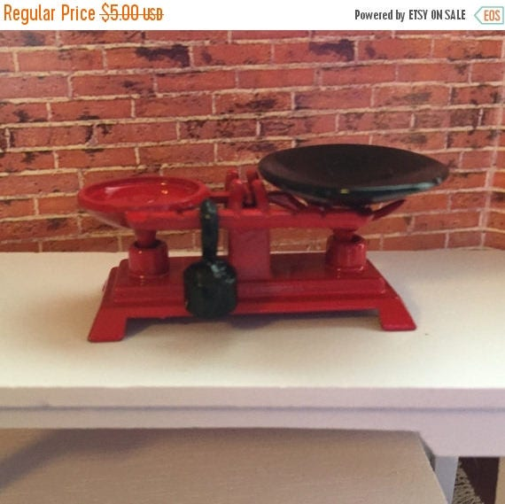 SALE Miniature Scale With Weight, Metal Vintage Inspired Store Scale, Red 1:12 Dollhouse Scale