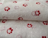 Vintage White Flocked Red Circles Dotted Swiss Fabric 1.5 yard