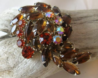 Vintage Juliana Style Layered Brooch, Topaz Navettes with AB Rhinestones