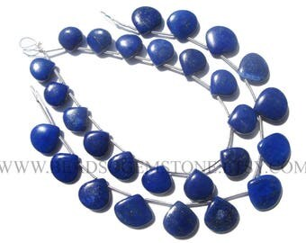 Lapis Lazuli Smooth Heart (Quality AAA) / 10 to 12.5 mm / 18 cm / LA-086
