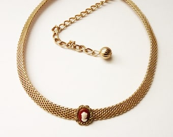 Vintage Gold Mesh Choker Necklace with Cameo by Park Lane