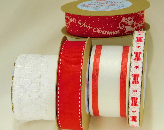 Red + White  Ribbons (3) + Nottingham Laces (2), Woven Edge, set of Five Luxury Ribbons 15 ft of each (total 75 ft) Made in England
