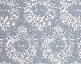 Vintage Wrapping Paper - Silver Wedding Wishes - Wedding Shower Wrapping Paper