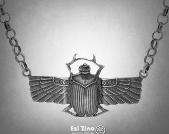 Original Ezi zino Egypt Scarab Beetle Oxide rolo Chain necklace Pendant Handmade solid Sterling Silver 925