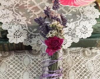 White Sage Lavender Rose Yarrow Smudging Bundle, Smudging Wand, Floral Smduging Bundle