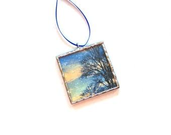 Photograph ornament, miniature scene, winterscape, Winter landscape stained glass ornament, winter snowy trees, winter home, mini wall art