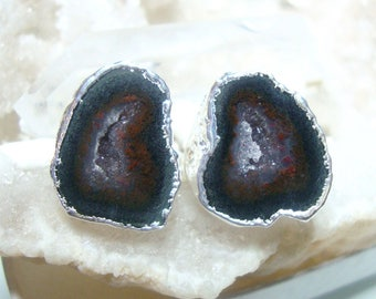 Geode Halves Silver Dipped Ear Stud, Natural Mexican Tobasco Agate Half Geode Earrings, S6