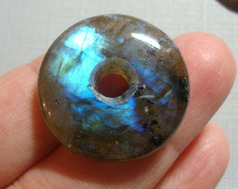 25mm, Labradorite, Gorgeous Firey Blue Gold Green Flashy Labradorite Smooth Donut PENDANT, D8