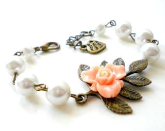 Flower Girl Gift Peach Bracelet Flower Girl Bracelet Rustic Wedding Jewelry Leaf Bracelet Pearl Children Jewelry Gift For Little Girls