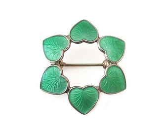 Volmer Bahner Brooch, Denmark Sterling, Sterling Silver, Guilloche Enamel, Green Enamel, Heart Brooch, Vintage Brooch, Vintage Jewelry