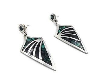 Mexican Sterling Malachite Long Earrings - Black Glass, Taxco Mexico, Sterling 925, TO-140, Sterling Earrings, Vintage Earrings