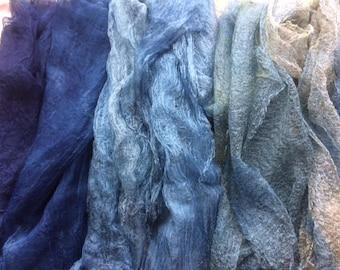 Indigo Dyed Silk Scarves
