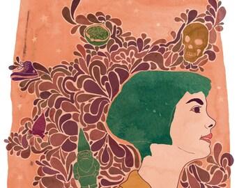 Amelie movie poster, Amelie movie print, Illustration Amélie, Amelie Poulain, 8.5x11