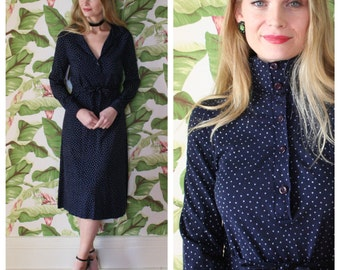 70's DVF Dress / Diane von Furstenberg Jersey Cotton Dress /Designer Seventies Dress Navy with Pale Blue Swiss Dots / Wrap Dress / Sexy 70's
