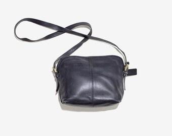 Vintage Coach Bag / Black Leather Coach Purse / Coach Crossbody Bag / Black Leather Purse