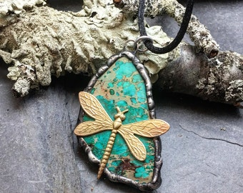 Dragonlfly pednant in brass, pewter and imperial jasper