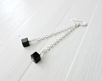 Long chain earrings minimalist long earrings black cube earrings black bead earrings for women