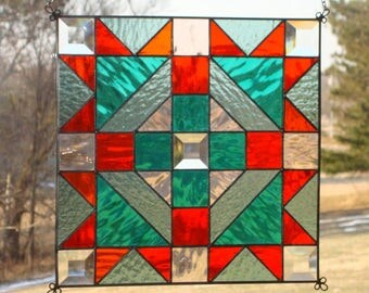 Quilt Square - Bear Claw Stained Glass Panel