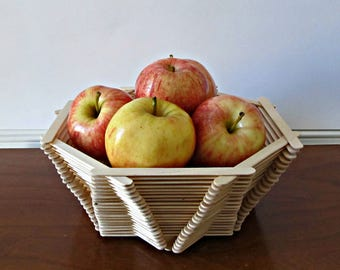 Popsicle Stick Bowl - Fruit Basket, Catch All Bowl, Serving Bowl - Modern Rustic Home Decor