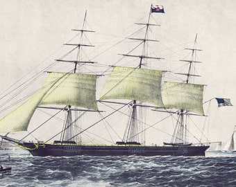 CURRIER AND IVES Large Vintage Print 'Clipper Ship Nightingale', Perfect for Framing, Ship at Sea, Sailing, Nautical, Americana,Folk Art