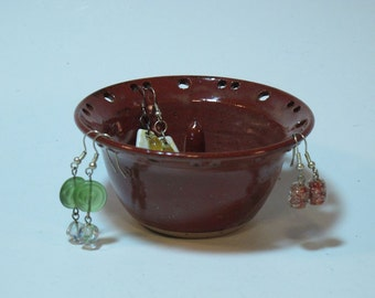 Brick Red Earring and Ring Organizer Dish - Handmade and In Stock