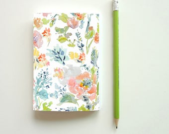 Notebook, Journal, Watercolor Flowers Notebook, Floral Pattern Notebook, Blank or Lined Notebook