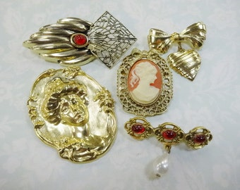 Vintage Antique Style Brooch Pin Lot (5) Each Fashion Costume Jewelry NICE For The Ladies