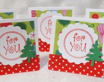 Holiday Gift Tags, Set of 28, Red and Green, Mini Cards, Christmas Trees, Christmas Gift Tags, On Clearance