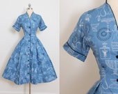 Reserved /// Vintage 50s Dress | Betty Barclay 1950s dress | antique glassware novelty print cotton large | 5820