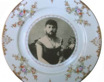 SALE - The Bearded Lady Plate 7.75""