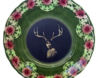 Deer Liza - Altered Vintage Plate 9""