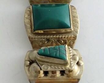 Rectangular Shaped Green Agate & Sterling Bracelet Signed Sterling