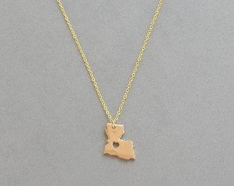 I Heart Louisiana Gold Plated Necklace