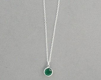 8 mm May Birthstone- Emerald Swarovski Drop Necklace