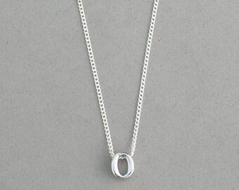 Rhodium Initial o Necklace