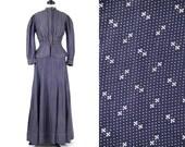 Antique 1910s Indigo Blue Calico Dress, Edwardian Workwear Day Dress, Primitive Fabric Pioneer Dress, Sisson & Sewell Milwaukee