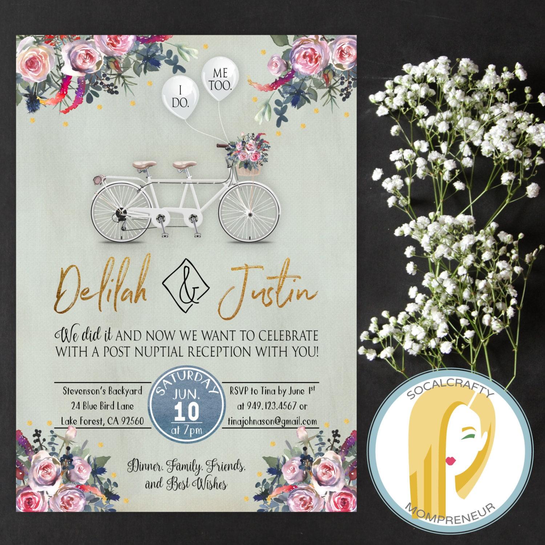 Wedding Reception Invitation Tandem Bicycle Bike Wedding