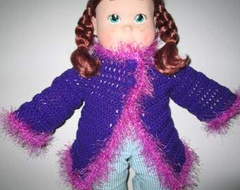 Baby Girl Purple Sweater Crocheted by SuzannesStitches, Baby Girl Sweater, Crochet Baby Girl Sweater, Baby Girl Crochet Cardi, Crochet Cardi