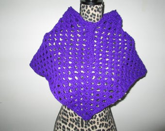 Purple Acrylic Poncho Crocheted by SuzannesStitches,  Crochet Girls Poncho, Girls Crochet Poncho, Granny Square Poncho, Handmade Poncho