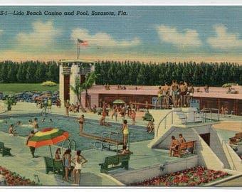 Swimming Pool Lido Beach Casino Sarasota Florida linen postcard