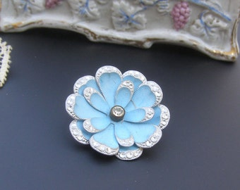 Vintage Flower Brooch, Vintage Germany Brooch, BLue Flower Brooch, Rhinestone Flower Pin, Vintage German Jewelry