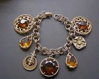 Big Bold Chunky Bracelet, Vintage Charm Bracelet, Amber Glass Stone Bracelet, Boho Chic Bracelet, Citrine Glass Charms