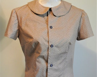 1940s Landgirl inspired Peter Pan collar blouse in ditsy cotton print