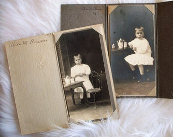 2 Studio Photographs - Alice Bower's 1917 Tea Party